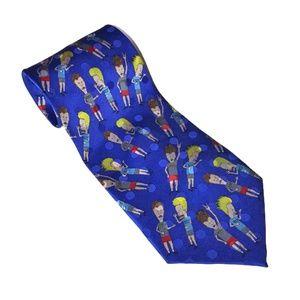 Beavis and butthead MTV blue tie 100% silk